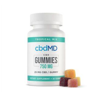 CBDMD Tropical Mix 30 CBD Oil Gummies Best CBD Edible
